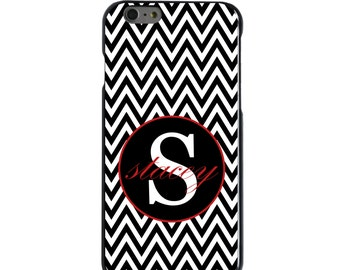 Hard Snap-On Case for Apple 5 5S SE 6 6S 7 Plus - CUSTOM Monogram - Any Colors - Black White Chevron Red