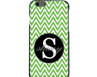 Hard Snap-On Case for Apple 5 5S SE 6 6S 7 Plus - CUSTOM Monogram - Any Colors - Green White Chevron Gray