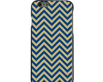 Hard Snap-On Case for Apple 5 5S SE 6 6S 7 Plus - CUSTOM Monogram - Any Colors - Pittsburgh Pitt Panthers Colors - Chevron Pattern