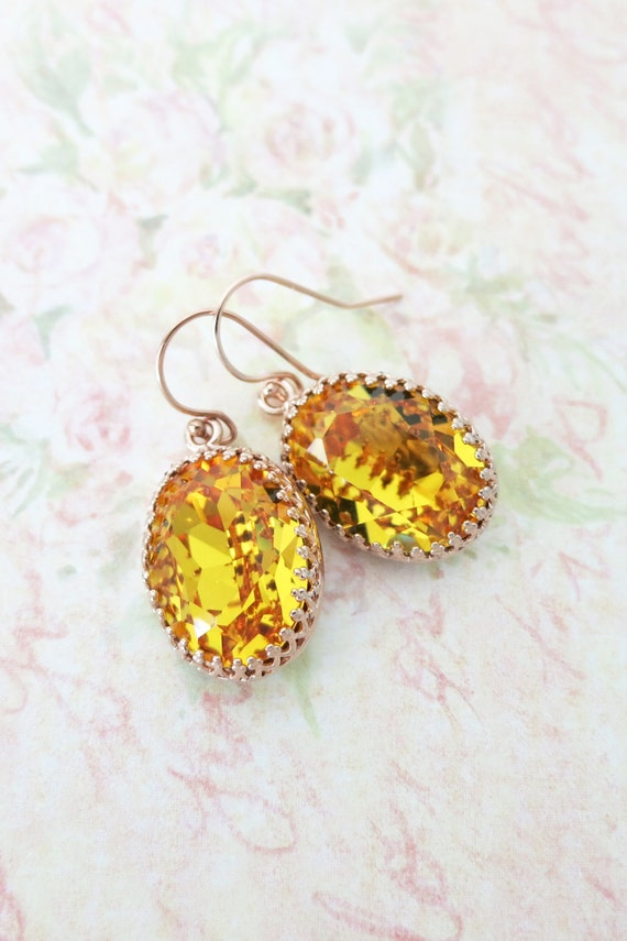 Rose Gold FILLED Swarovski Sunflower Yellow Oval Crystal Earrings, grey wedding bridal earrings, bridal bridesmaid gifts, pink gold weddings