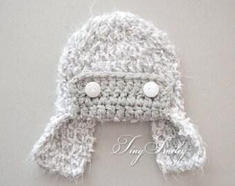 Aviator Baby Hat, Baby Boy Hat, Earflap Boy Hat, Crochet Earflap Hat, Gray Aviator Hat, Aviator Hats Boy, Crochet Newborn Hat, Baby Boy Gift