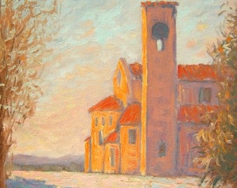 "Curch Original oil painting  impressionist, winter scene, snow, 11""x14"", Sessa"
