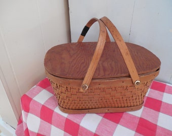 Sweet Vintage Child's Red-Man Wicker Picnic Basket with repair