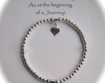 Serenity 18th, 21st, 30th, 40th, 50th, 60th  Birthday Sterling Silver Heart Stretch Bead Bracelet