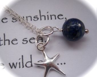 Sterling Silver Starfish Charm and Lapis Lazuli Gemstone Necklace