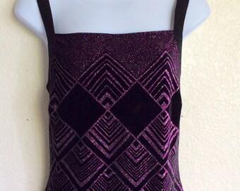Vintage Purple Velvet Glitter Dress
