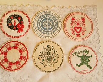 27 Vintage Paper Coasters Variety, Holly Boy England, Valentines, Christmas, Wedgewood Blue and White Embossed