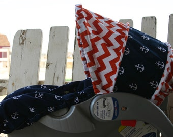 orange and white chevron with Navy blue with white anchors infant car seat cover and hood cover