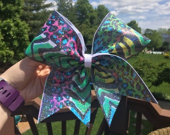 Shiny Animal Print Cheer Bow