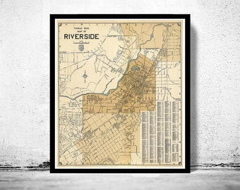 Old Map of Riverside California