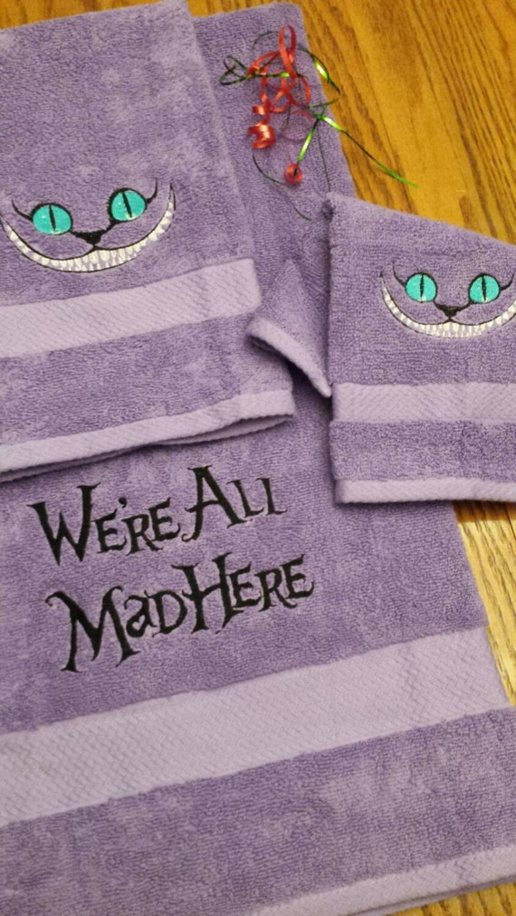 Items Similar To Cheshire Cat Towel Set Bath 3pc Set We 39 Re All Mad Here Embroidered Boutique