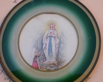 French antique  reliquary   glass notre dame de Lourdes antique reliquary sacred heart  metal frame