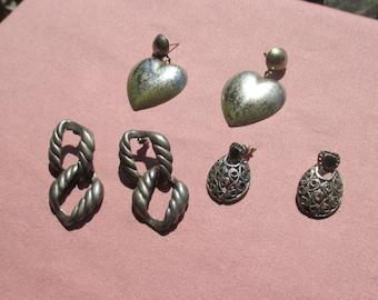 Lot Of Vintage Metal Dangling Pierced Earrings Patina
