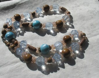 Retro Wood Blue Beaded Long Necklace