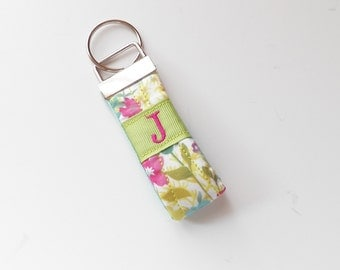 Liberty of London Flower Fabric Green Key Chain Fob  Monogram Personalized Accessory.