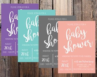 Simple Baby Shower Invitation with Color Options