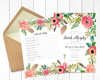 INVITATION SUITE - Custom Baby Shower Invitation & Wishes for Baby Card PRINTABLE Watercolor Floral