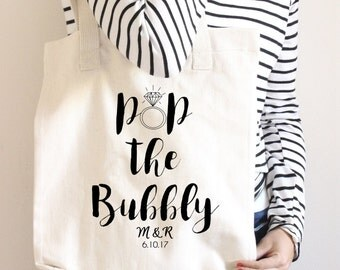 Gift for Bride-to-Be Custom Tote Bag Engagement Gift Pop The Bubbly Personalized Bridesmaid Tote Bag Bridal Shower Gift Cotton Canvas Tote