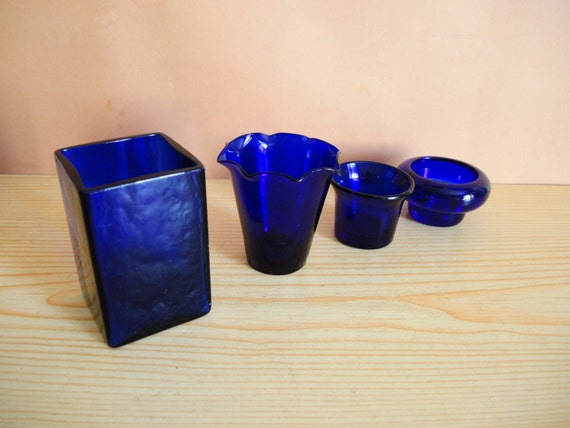 Set Of 4 Vintage Like French Cobalt Blue Glass Kitchen Decor