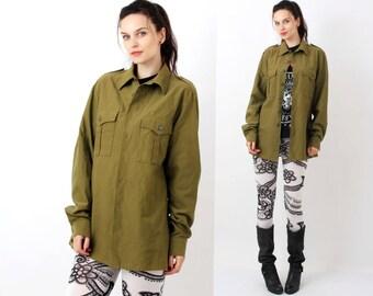 Vintage Military Khaki Olive Green Men Shirt Size L