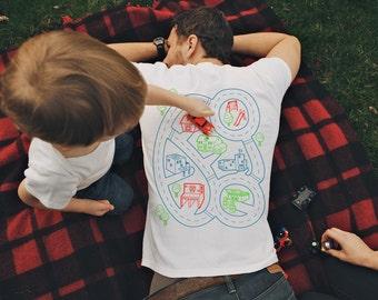 XL, Car Play Mat Shirt, Gift for Dad, Car Track Shirt, Step Dad Gift from Kids, Dad Car Shirt, Car Mat Shirt, Father Son Shirt, Dad Shirt