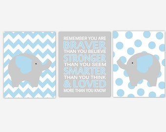 Blue Baby Boy Nursery Art Elephant Grey Gray Safari Jungle Zoo Animals Remember You Are Braver Boy Baby Nursery Decor Prints CHOOSE COLORS