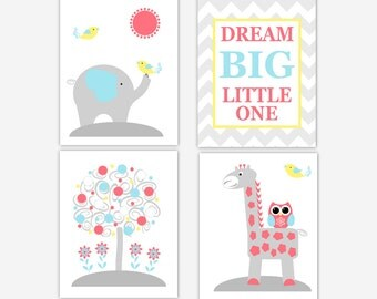 Baby Nursery Wall Art Blue Yellow Coral Elephant Giraffe Owl  Dream Big Little One Baby Nursery Decor Nursery Wall Decor