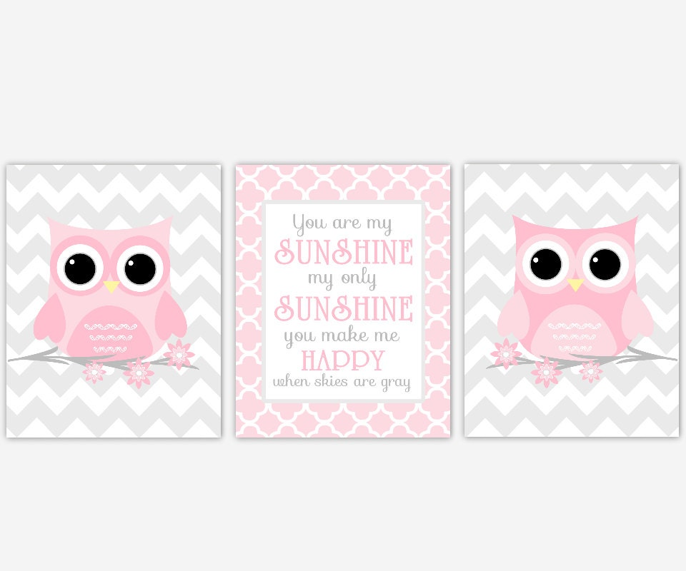 Baby Girl Nursery Art Pink Gray Owls You Are My Sunshine Chevron ...