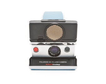 Polaroid SX-70 Land Camera Sonar OneStep with New BLUE Leather Covering - Tested - Guaranteed Working - one step SX-70 reconditioned