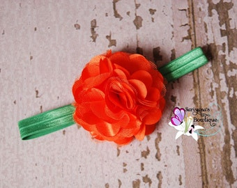 My Pumpkin Satin Tulle Flower Headband Clip, Orange Green, Halloween, Fall - Baby Girl Toddler Woman - SB-014