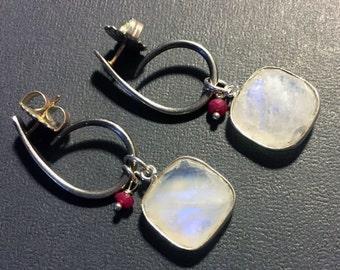 Rainbow Moonstone & Ruby Sterling Silver Dangle Earrings