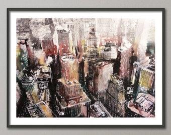 New York Painting, Original, Watercolor,  Watercolour, Acrylic, Wall art, NY art, colorful, abstract, contemporary, modern