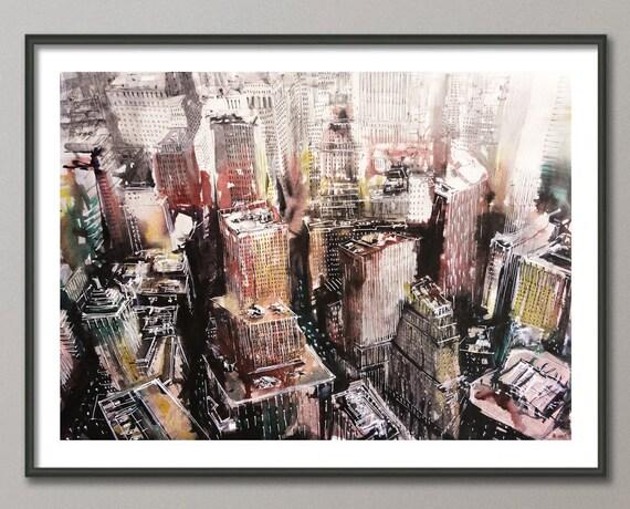 new york gem lde original aquarell aquarell acryl wall. Black Bedroom Furniture Sets. Home Design Ideas