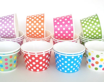 Ice Cream Cups Yogurt Cups Pick Your Color(s) 12 Polka Dot Paper Cups, 8 oz. Paper Snack Cups Candy Cups Fruit Cups Cold Cups Hot Cups