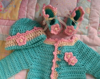 baby sweater, baby girl sweater, baby crochet sweater girl, baby girl, crochet baby sweater set, handmade sweater baby 0-6 months