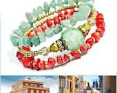 Nizza Lampwork Wrap bracelet, Aventurine Coral bracelet, Bohemian gemstone bracelet, Beach bracelet Green Red Gold Memory wire cuff bracelet