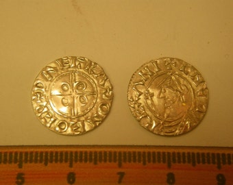 anglo saxon pewter coins of canute set of 20 living history reenactment use