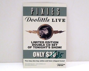 Pixies Postcard Vintage 1990's Doolittle Live Record Label Mailed to our Mohawk Music Record Store Kim Deal Frank Black Francis Punk Rock