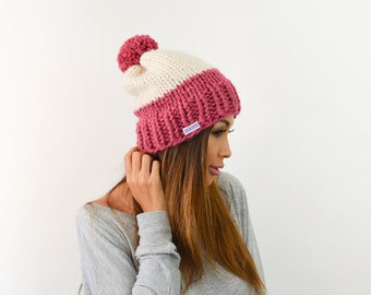 The Rey Handknit Two Tone Block Color Pink/Cream Women Chunky Beanie with Pom Pom