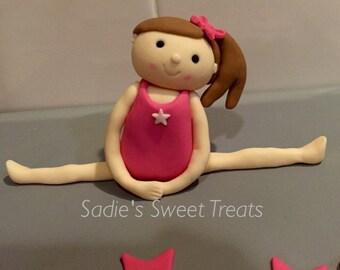 Gymnastics 3D fondant cake toppers, complete gymnastics cake set, gymnast cake topper, gymnastics birthday cake, gymnastics birthday party.