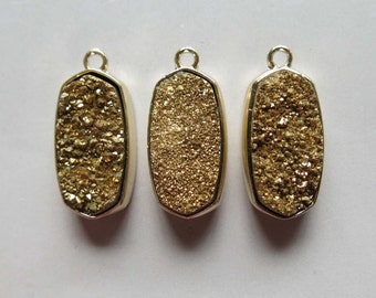Golden Druzy Pendant Set In Gold Plated Bezel  - B1374