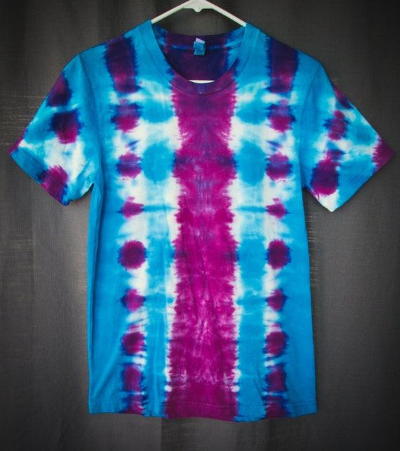 Tie Dye Shirt/Adult Tie Dye T-Shirt/Short Sleeve/Blue & Rasberry/Eco-Friendly Dying