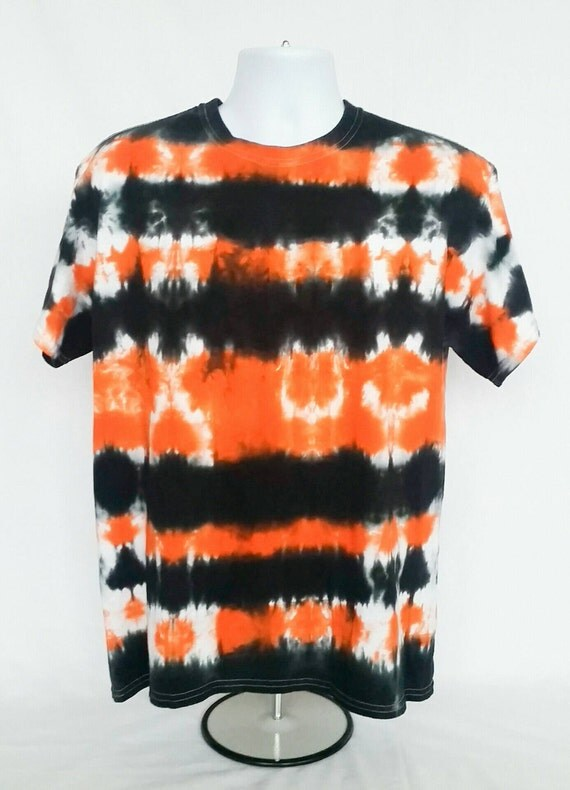 Tie Dye Shirt/Adult Tie Dye T-Shirt/Short Sleeve/Orange & Black/Eco-Friendly Dying