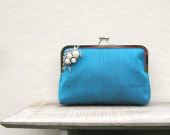 Teal bridal clutch, pearl rhinestone bag, teal bridesmaids clutch, turquoise evening clutch, turquoise clutch purse, teal wedding, clutch uk