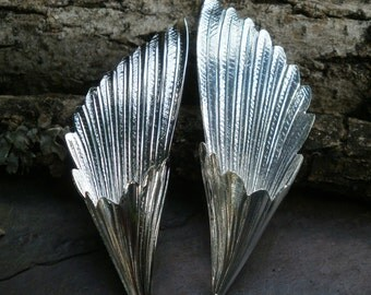 Bright Silver Plating Stamping Medium Fan Flare Focal Pair Folded