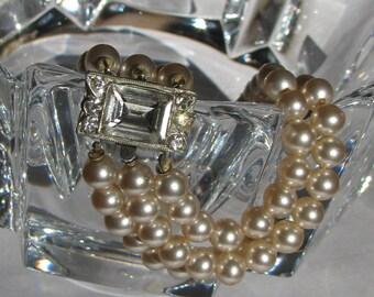 Elegant and Flawless 3 Strand Pearl Bracelet with Impressive Rhinestone Clasp, Bridal