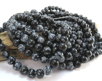 Snowflake Obsidian Beads, Natural Black Snowflake Obsidian 8mm Round Beads, 16 inch Strand, Beading Supplies, Item 993pm
