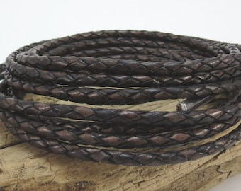 Dark Brown Braided Leather Bolo Cord, 3mm Leather Cord, 1 Yard Colored Braided Leather Cord, Leather Necklace Cord, Item 919ct