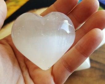 Selenite Heart ~ 1 Reiki infused 51-53mm heart