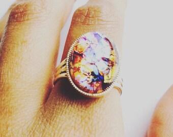 Pink Czech Glass Iridescent Ring